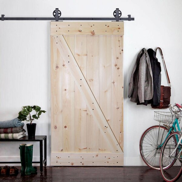 Solid Wood Panelled Knotty Pine Slab Interior Barn Door by Calhome