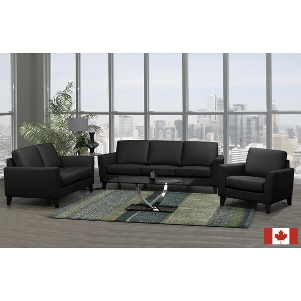 Brunet 3 Piece Leather Living Room Set by Brayden Studio