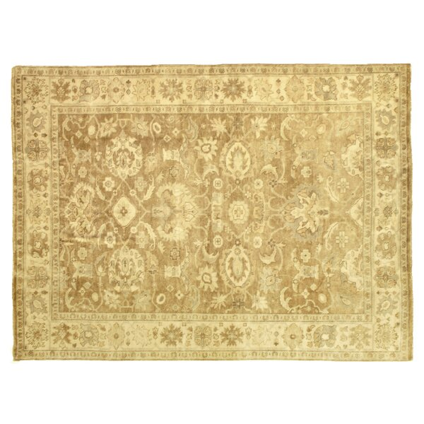 Oushak Hand Woven Wool Camel/Ivory Area Rug by Exquisite Rugs