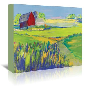 'Red Barn Landscape' Painting Print on Wrapped Canvas by August Grove