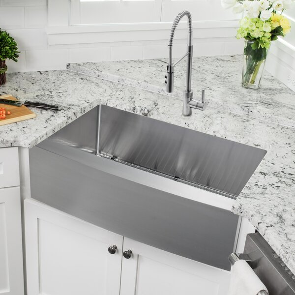 36 L x 21 W Apron Kitchen Sink with Faucet and Soap Dispenser by Cahaba