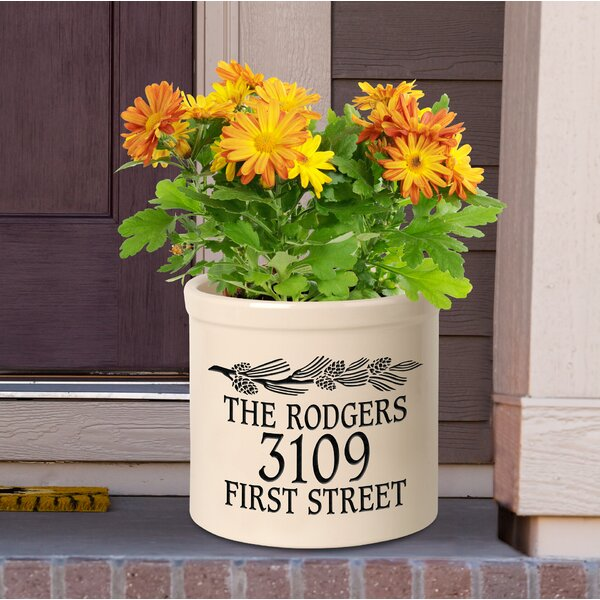 Woodsburgh Personalized Pinecone Ceramic Pot Planter by August Grove
