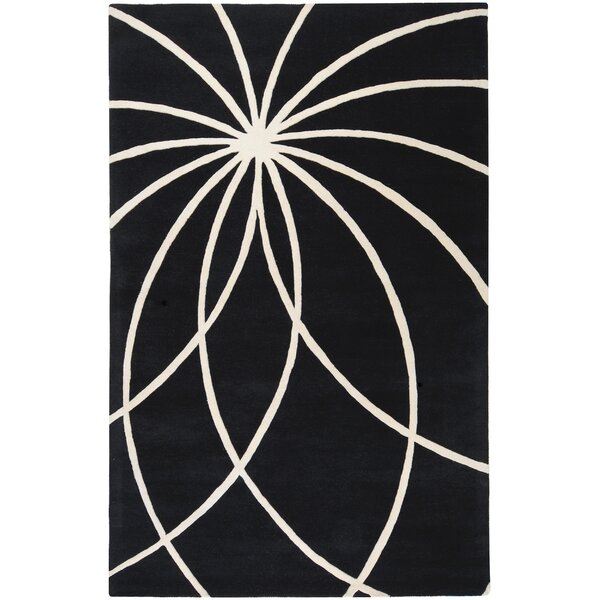 Dewald Black/Ivory Area Rug by Ebern Designs