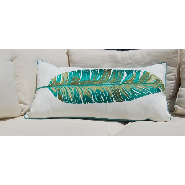 Drucilla Banana Leaf Palm Embroidered Outdoor Throw Pillow by Bayou Breeze