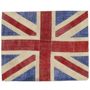 Attractive Union Jack Patchwork Hand Knotted Wool Red/Blue Area Rug