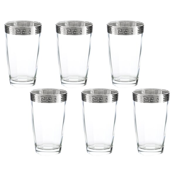 Pokorny Versace 16 oz. Glass Highball Glasses (Set of 6) by Latitude Run