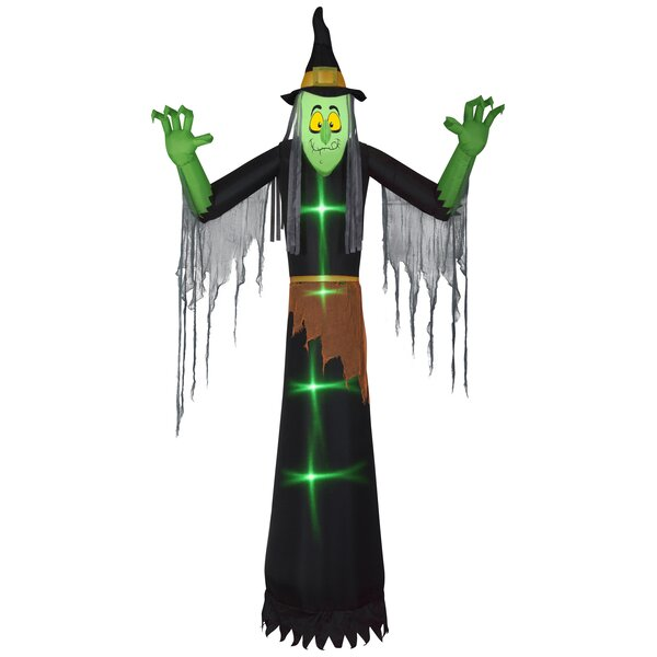 Lightshow Short Circuit Witch Inflatable with Clothing Giant by The Holiday Aisle