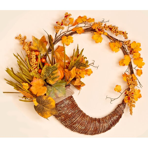 18 Fall Long Grasses, Berries, Pumpkins and Leaves Wreath by The Holiday Aisle