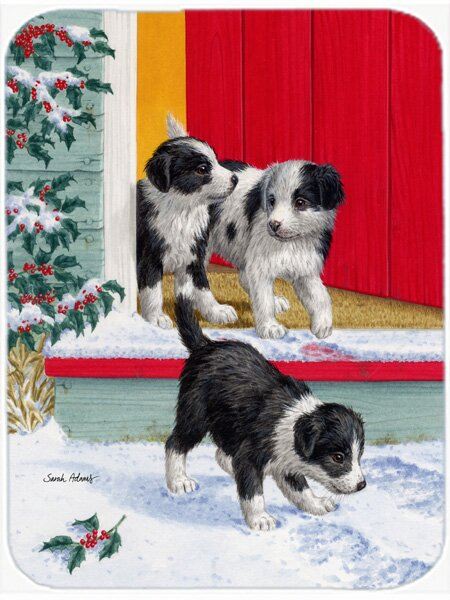 Christmas Border Collie Pups Glass Cutting Board by Caroline's Treasures