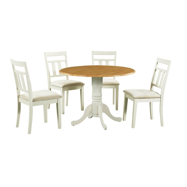 Ansonia 5 Piece Drop Leaf Solid Wood Dining Set by August Grove