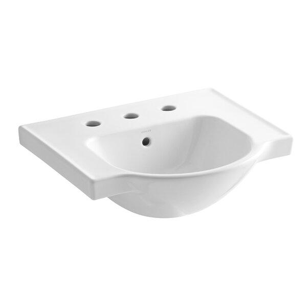 Veer Ceramic 21 Pedestal Bathroom Sink with Overflow by Kohler