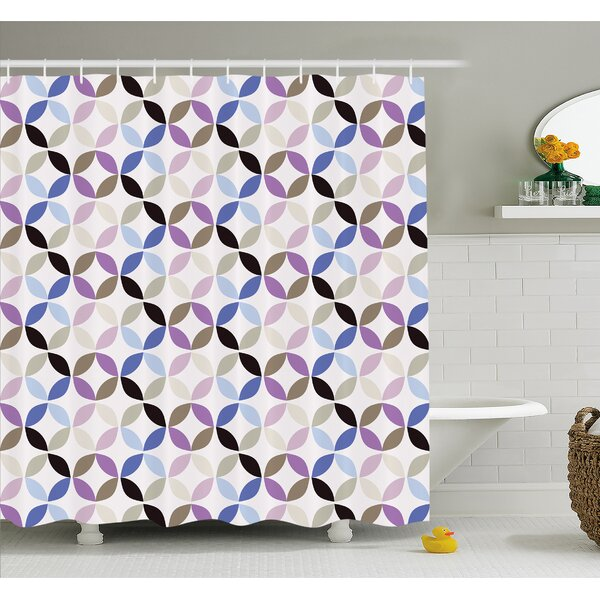 Geometric Circle New Age Style Dynamic Contrast Bands Diagonals Fractals Art Print Image Shower Curtain Set by Ambesonne
