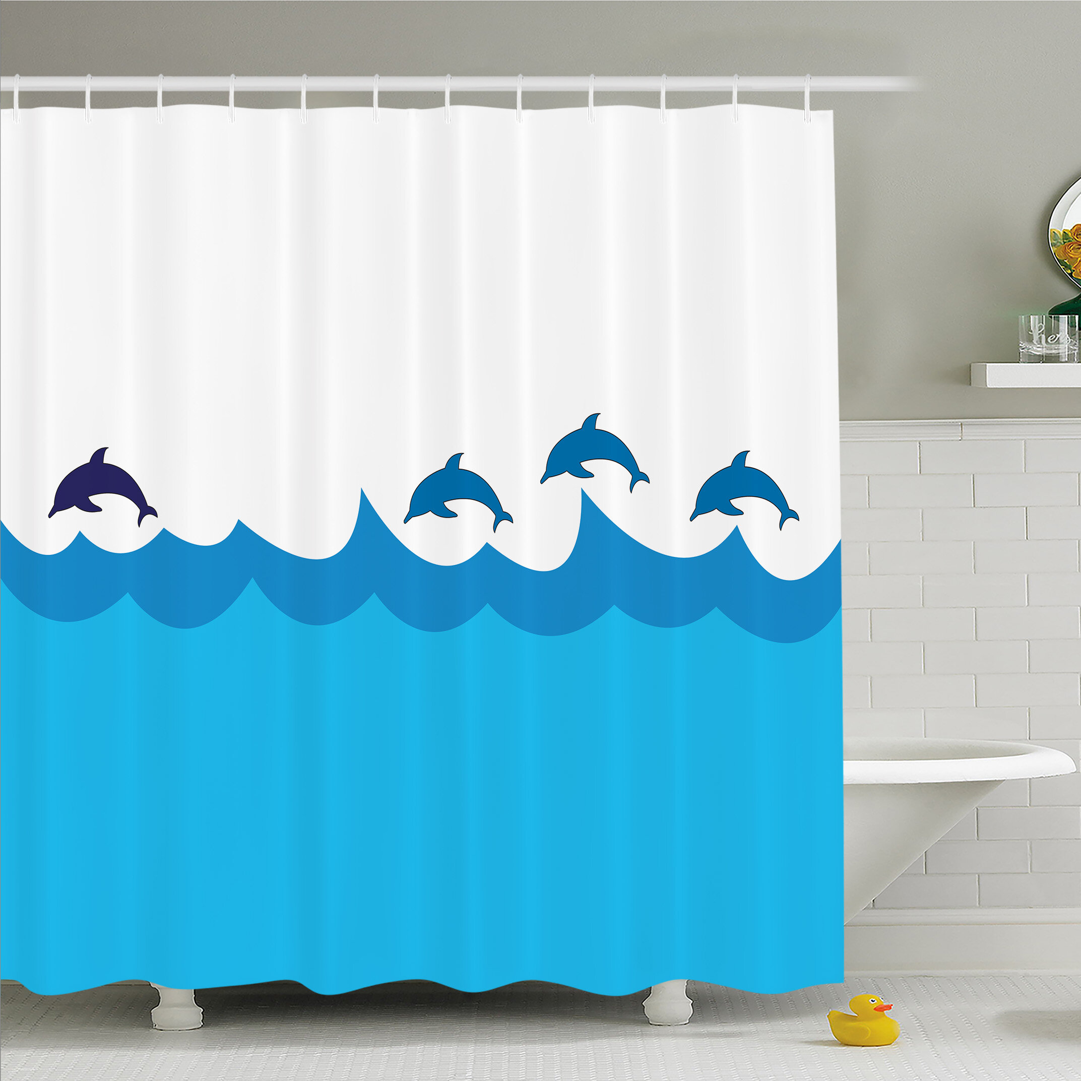 Ambesonne Sea Animals Lead And Three Dolphins Shadow On Waves Oceanlife Marine Image Shower Curtain Set