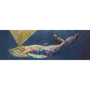 'Jeweled Whale Spray' by Eli Halpin Print of Painting on Canvas in Wisteria by GreenBox Art