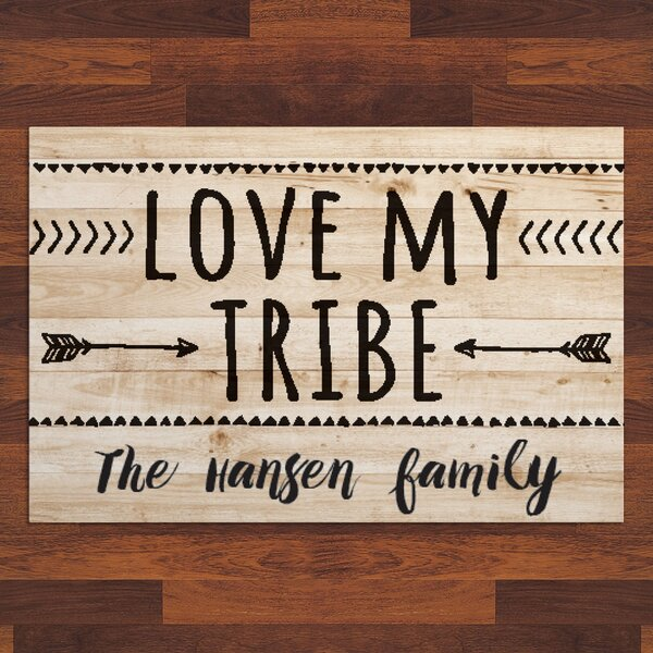 Labarge Love My Tribe Personalized 27 in. x 18 in. Non-Slip Outdoor Door Mat