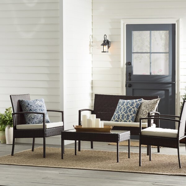 Dashiell 4 Piece Rattan Sofa Set with Cushions by