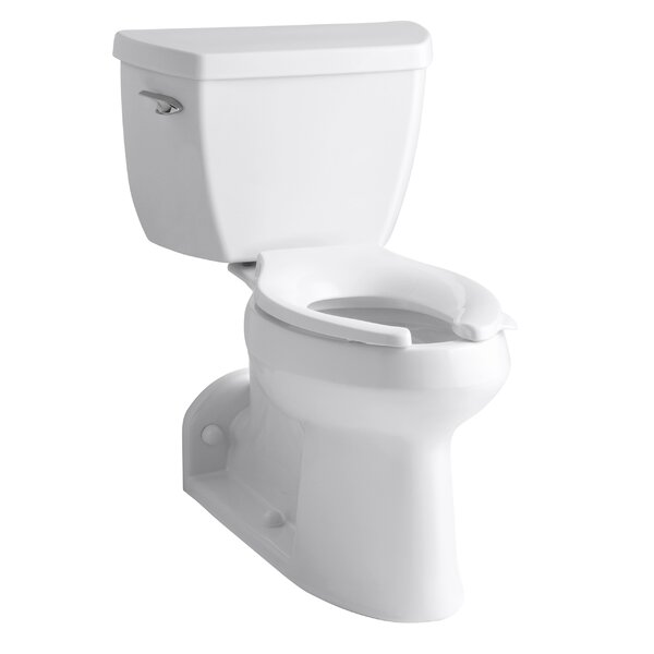 Barrington Comfort Height Two-Piece Elongated 1.0 GPF Toilet with Pressure Lite Flushing Technology, Right-Hand Trip Lever and Toilet Tank Locks by Kohler