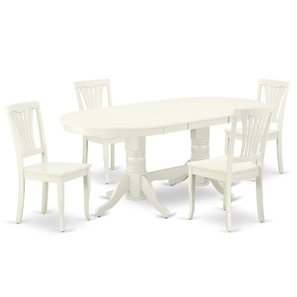 Waukeenah 5 Piece Extendable Solid Wood Dining Set by Winston Porter Winston Porter