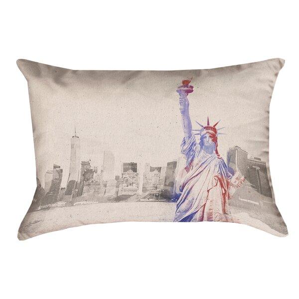 Houck Watercolor Statue of Liberty Outdoor Lumbar Pillow by Brayden Studio