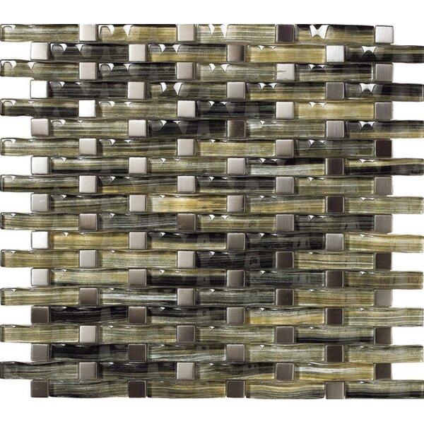 12 x 12 Aqua Metal & Glass Mosaic Tile in Silver by Kellani