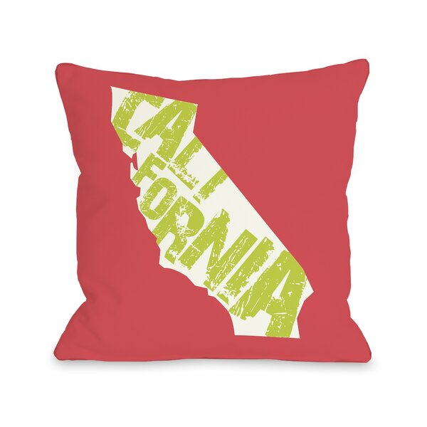 California State Type Throw Pillow by One Bella Casa