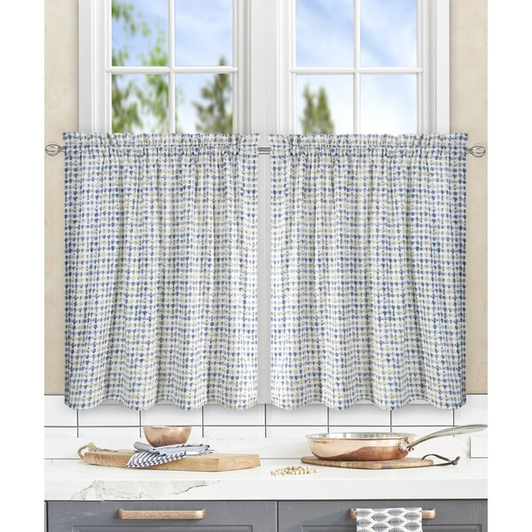 Brandon Ikat Check Tailored Tier Curtain (Set of 2) by Langley Street