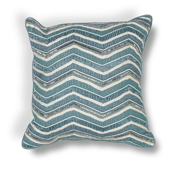 Zelma Indoor/Outdoor Chevron Cotton Beading Throw Pillow by Bungalow Rose