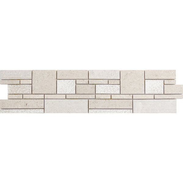 Presidio Random Sized Limestone Mosaic Tile in Ivory by Emser Tile