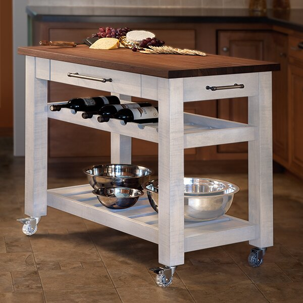 Metro Mobile Kitchen Island With Solid Walnut Top