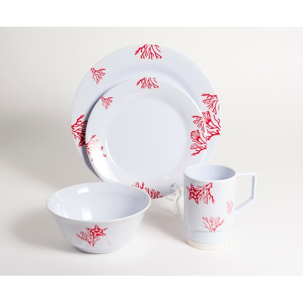 Decorated Coral Melamine 24 Piece Dinnerware Set, Service for 6 by Galleyware Company