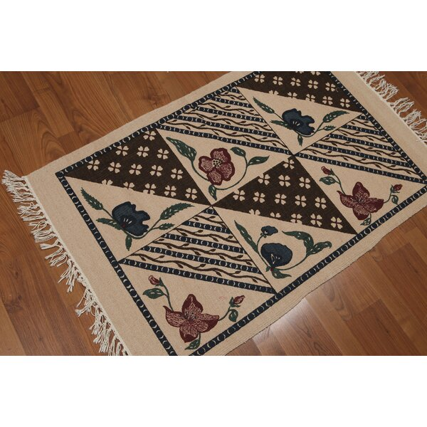 One-of-a-Kind Oldknow Printed Dhurry Hand-Knotted Wool Beige Area Rug by August Grove