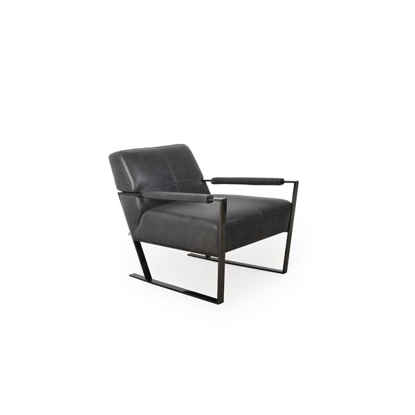 Irvin Full Leather Ottoman by 17 Stories