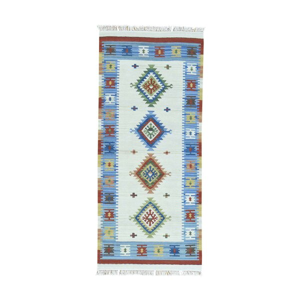 Anatolian Durie Kilim Flat Weave Hand-Knotted Blue/Ivory Area Rug by Bloomsbury Market