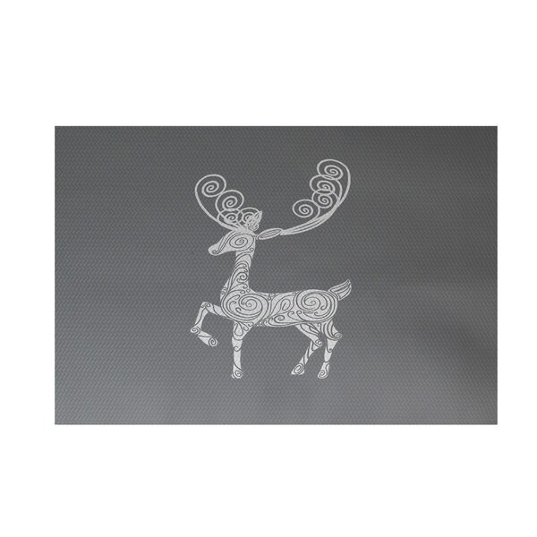 Deer Crossing Decorative Holiday Print Gray Indoor/Outdoor Area Rug by The Holiday Aisle