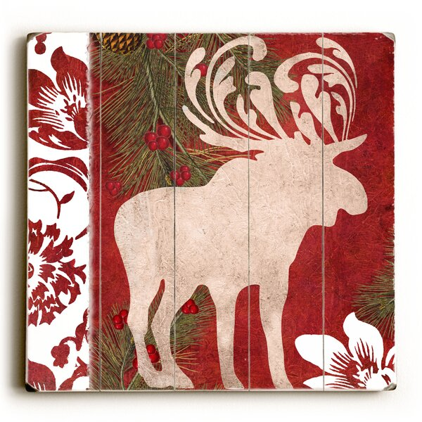 Christmas Moose Graphic Art Plaque by Red Barrel Studio