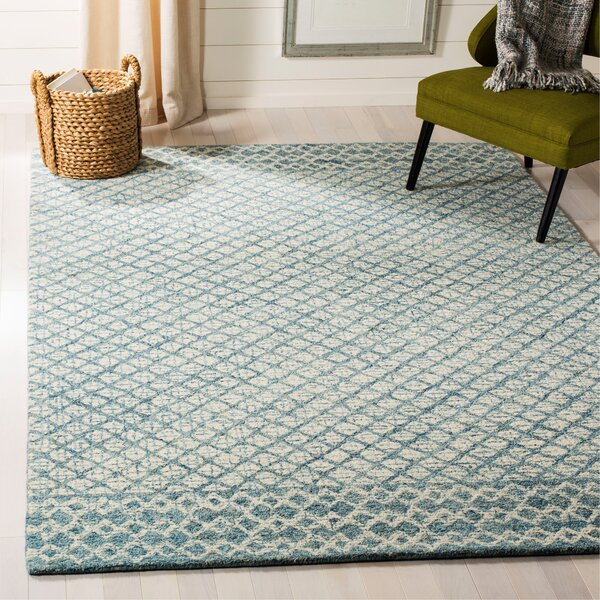 Costin Abstract Hand-Tufted Wool Blue/Ivory Area Rug by Rosecliff Heights