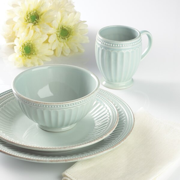French Perle Groove 4 Piece Place Setting, Service for 1 by Lenox