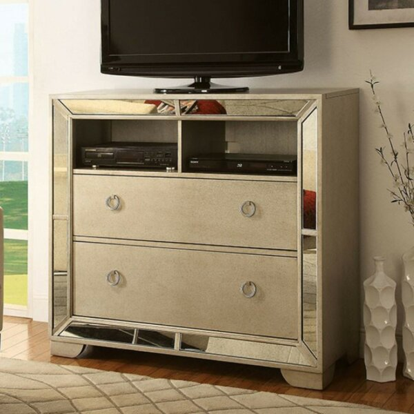 Home & Outdoor Lopez Media 2 Drawer Chest With Mirror