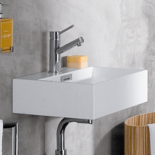 Quarelo Ceramic 17 Wall Mount Bathroom Sink with Overflow by WS Bath Collections