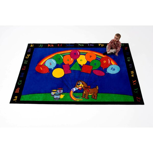 Rainbow Paint Blue/Green/Red Area Rug by Kids World Carpets