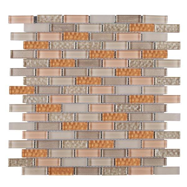 1 x 2 Glass Mosaic Tile in Beige/Orange by Multile
