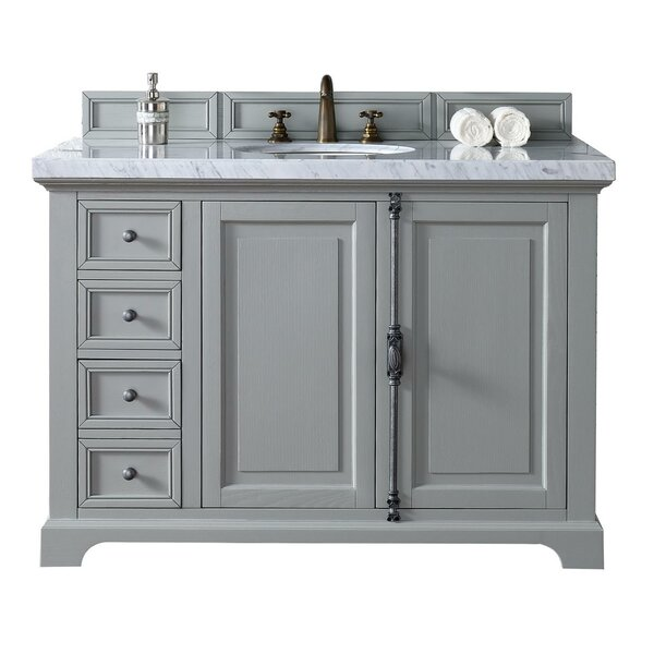 Deleon 48 Single Cottage White Quartz Top Bathroom Vanity Set by Darby Home Co