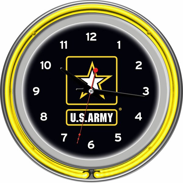 U.S Army 14.5 Double Ring Neon Wall Clock by Trademark Global