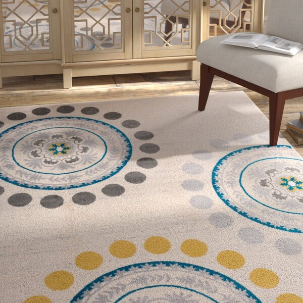 Eason Contemporary Circles and Dots Cream Area Rug by Bungalow Rose