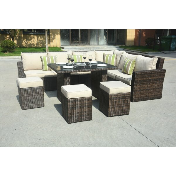 Perdomo 8 Piece Rattan Sectional Seating Group with Cushions by Brayden Studio