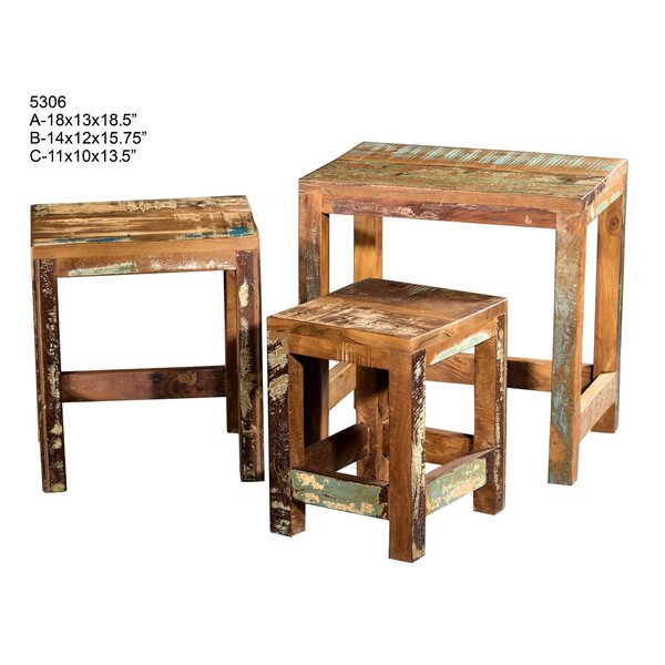 Cabela Wooden 3 Piece Accent Stool Set by Loon Peak