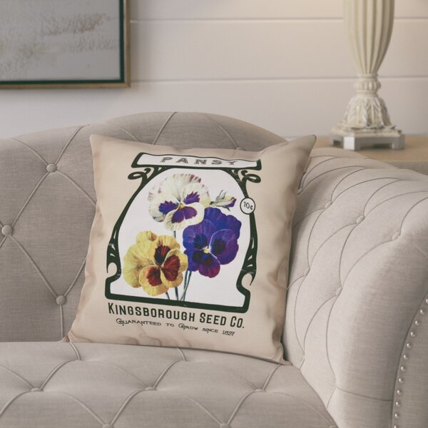 Pilla Pansy Floral Print Throw Pillow by August Grove