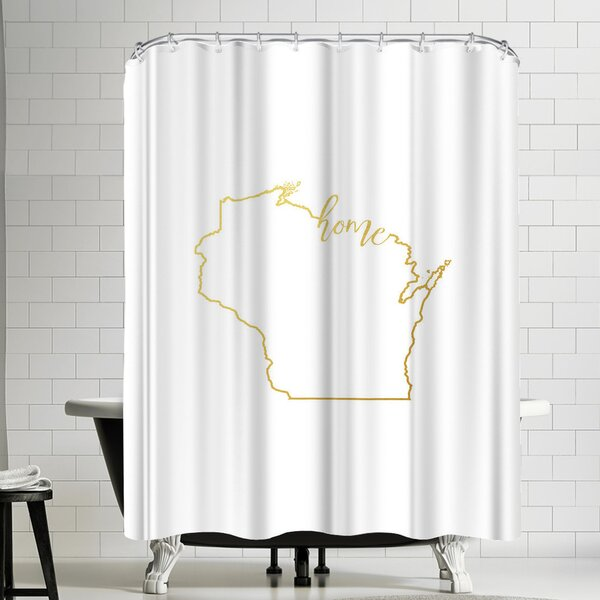 Paperfinch Wisconsin Home Gold Foil Shower Curtain by East Urban Home
