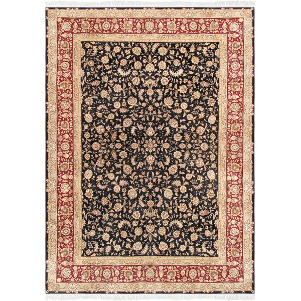 Tabriz Hand-Knotted Wool Navy/Red Area Rug by Pasargad