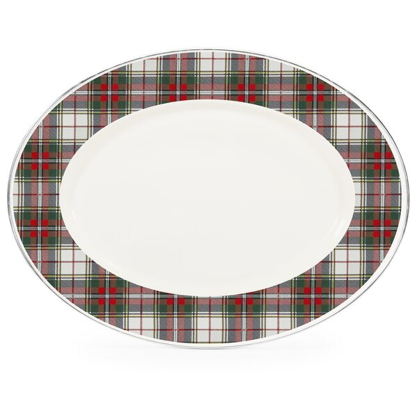 Flores Plaid Oval Platter by The Holiday Aisle
